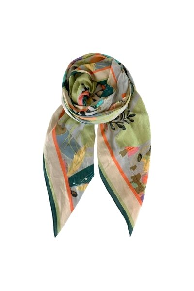 Black Colour Botanique Scarf Pastel