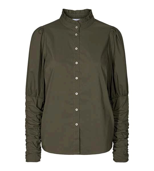 Co Couture Sandy Poplin Puff Shirt Army