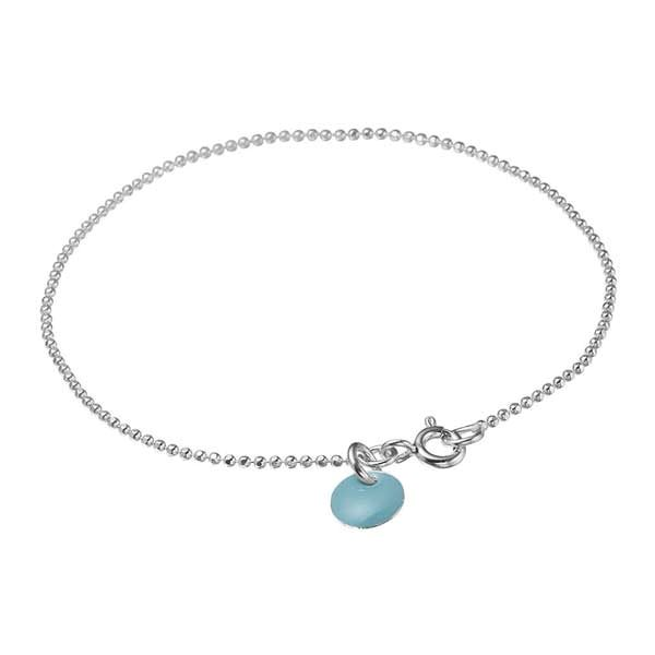 Enamel Bracelet Ball Chain Light Blue