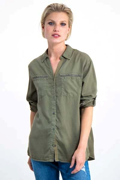 Garcia I90033 ladies shirt army