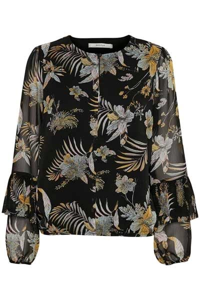 Gestuz Maui Blouse Black Palm