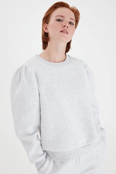 Ichi Giselle Sweat Light Grey Melang