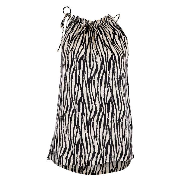 Neo Noir Paula zebra top off white black