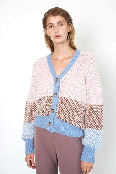 Second Female Berthe Knit Cardigan Light Mahagony