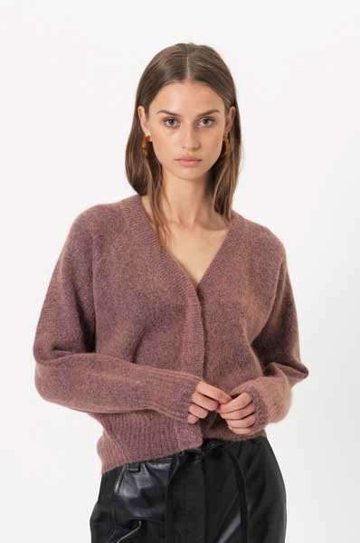 Second Female Brook Knit Boxy Cardigan Desert Sand